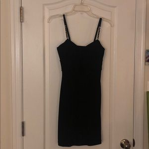 LBD black dress w/ruching and chain straps